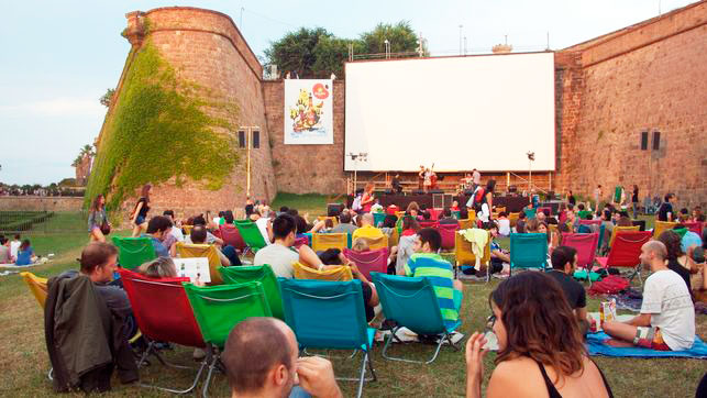 Open-air cinema in Montjuic by Gratis in Barcelona